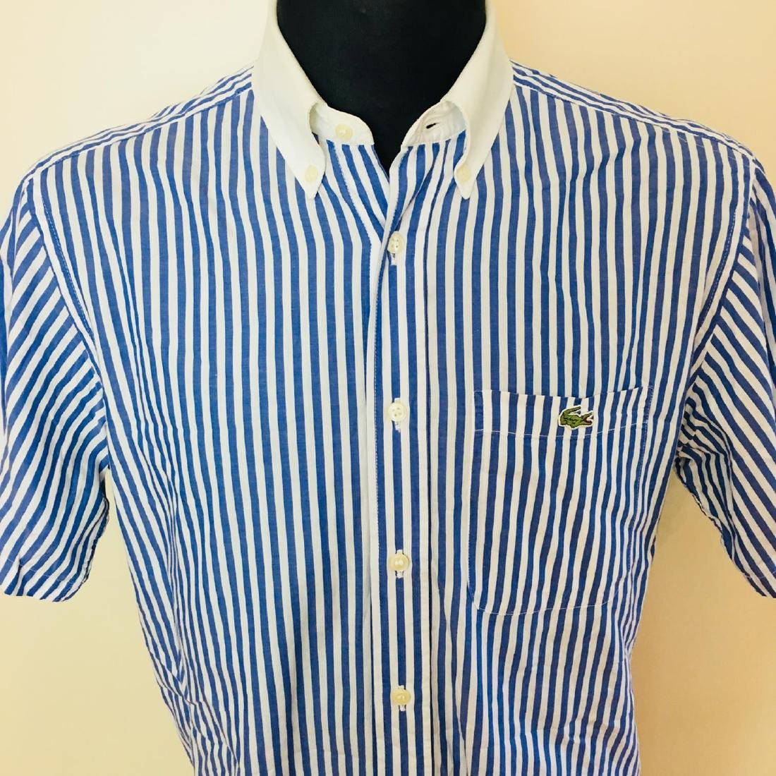 Men's Lacoste Blue Striped Short Sleeve Shirt Size 39 / - 3