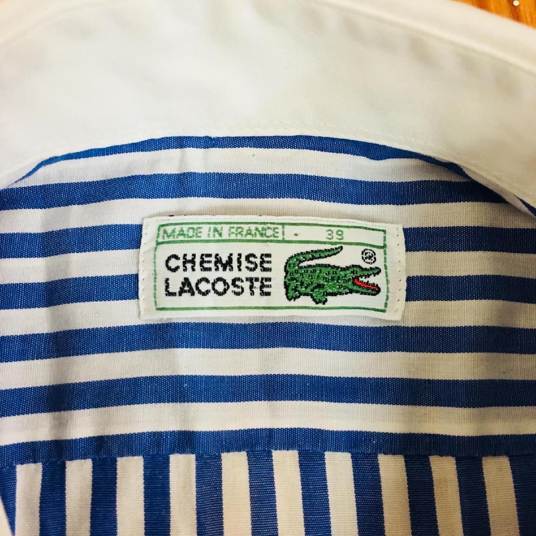 Men's Lacoste Blue Striped Short Sleeve Shirt Size 39 / - 4
