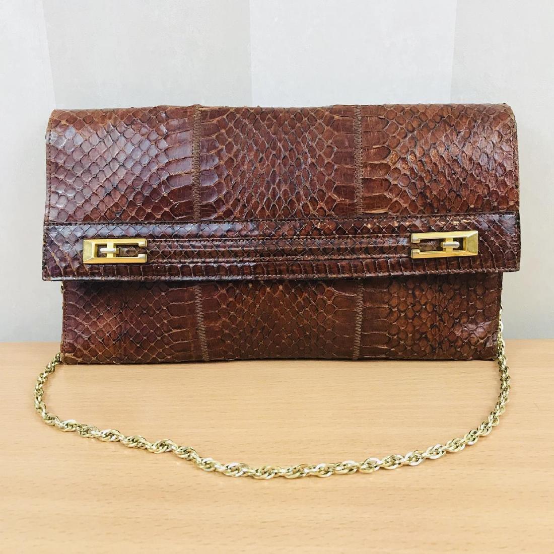 Vintage Handmade Genuine Snake Skin Leather Clutch Bag