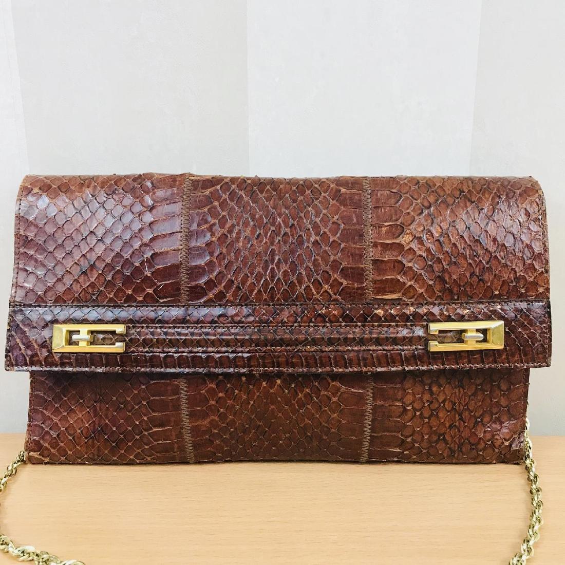 Vintage Handmade Genuine Snake Skin Leather Clutch Bag - 2