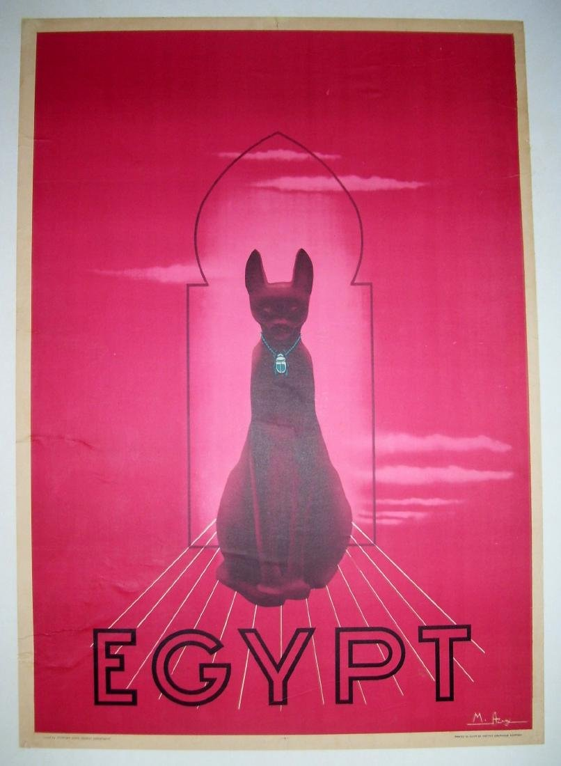 Vintage Egypt Travel Poster Circa 1930s Bast Cat God