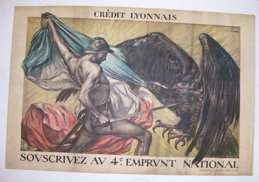 Vintage French WW I Poster Crédit Lyonnais - 1918 -