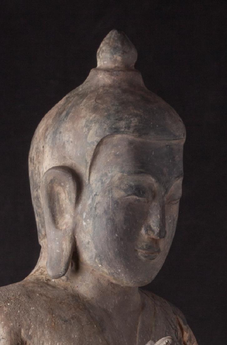 Antique wooden Ava period Buddha statue - 10