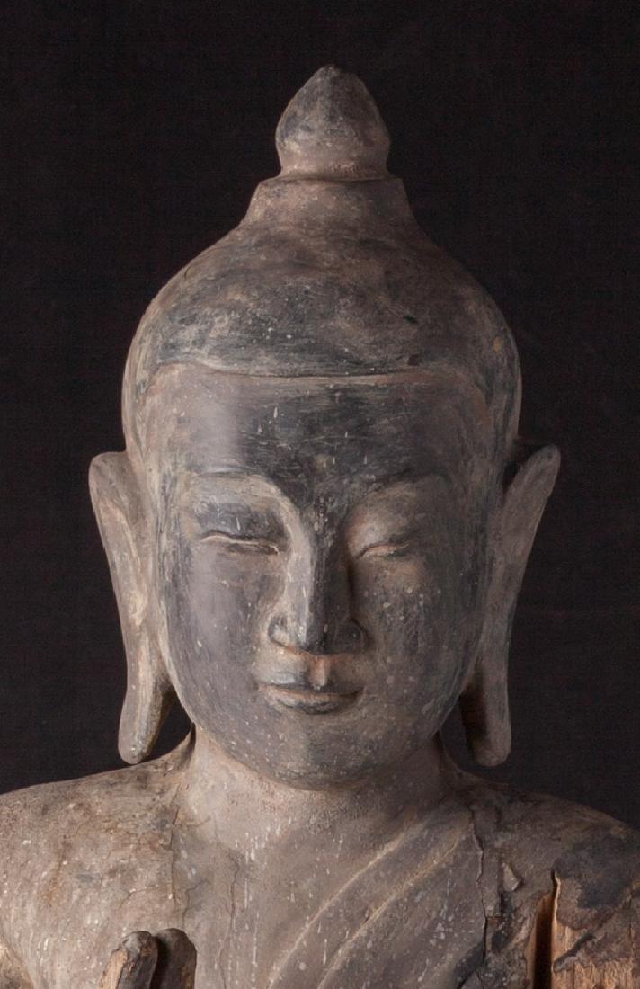 Antique wooden Ava period Buddha statue - 11