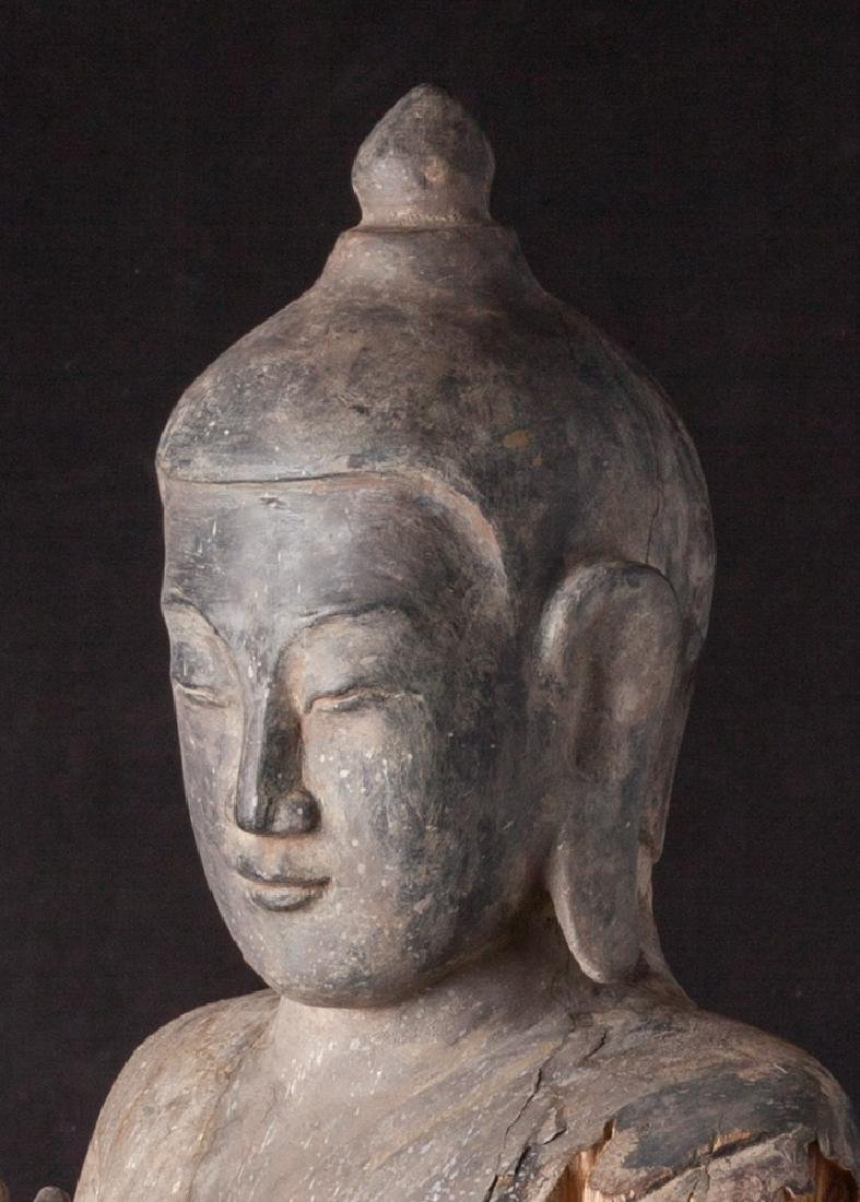 Antique wooden Ava period Buddha statue - 12
