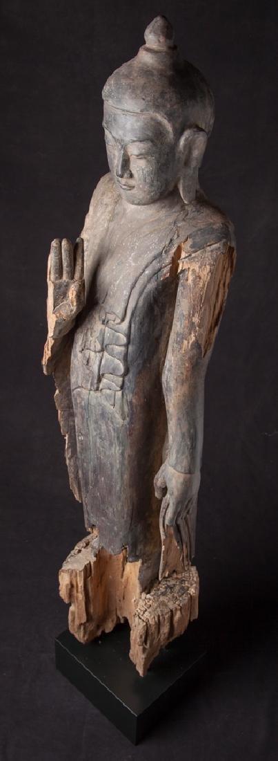 Antique wooden Ava period Buddha statue - 13