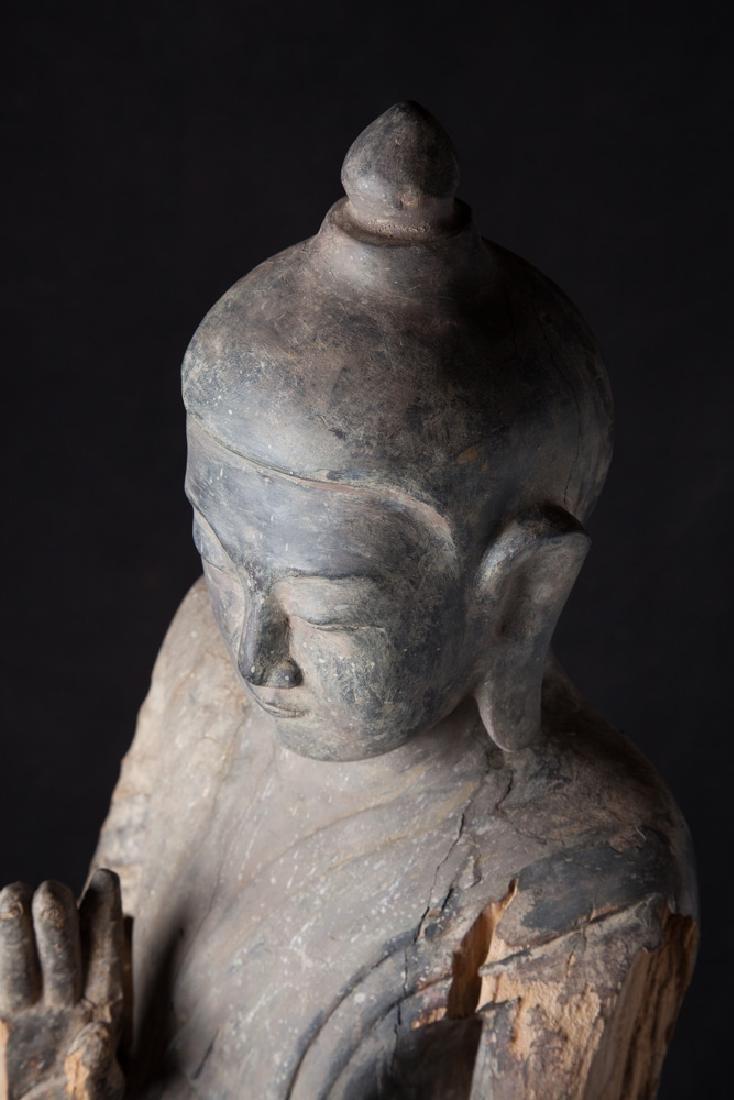 Antique wooden Ava period Buddha statue - 14