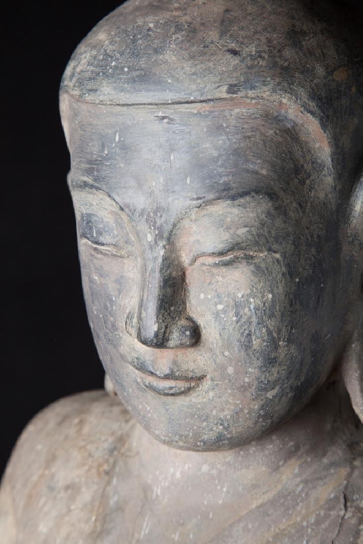 Antique wooden Ava period Buddha statue - 15