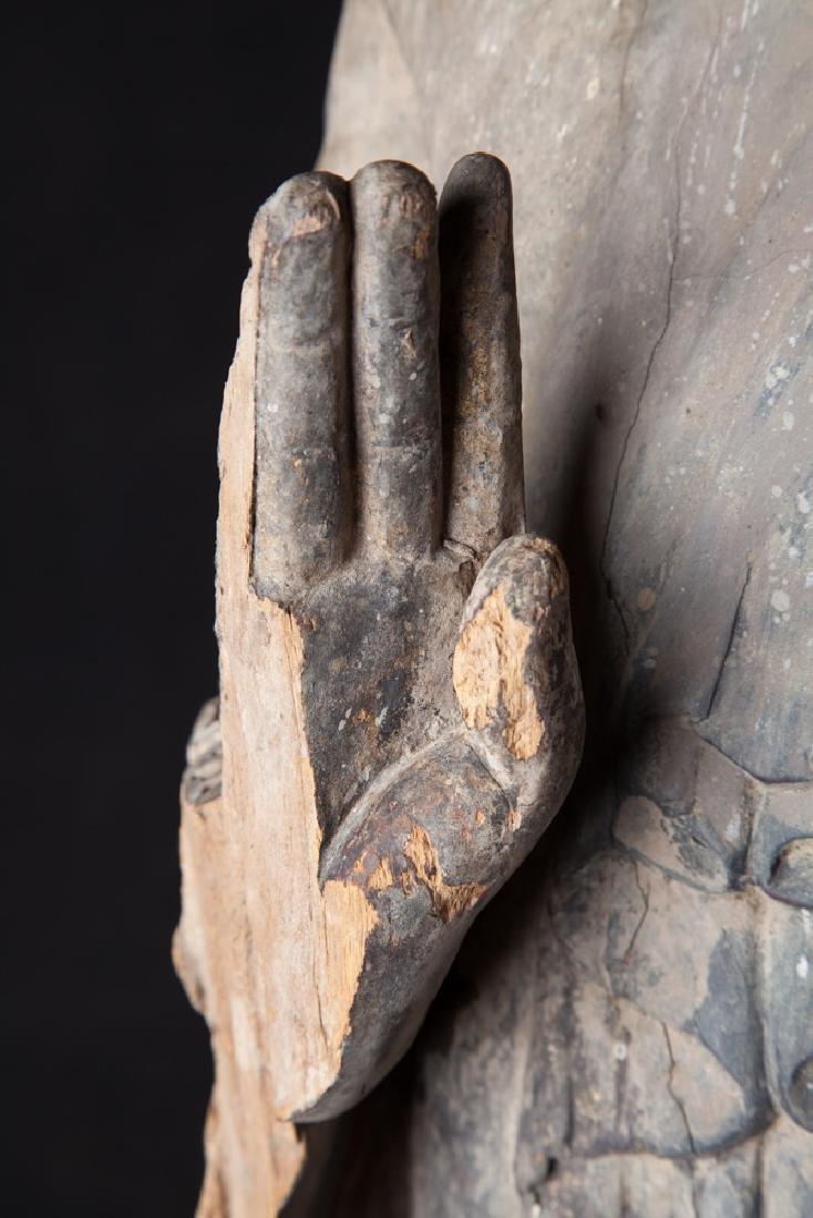 Antique wooden Ava period Buddha statue - 16