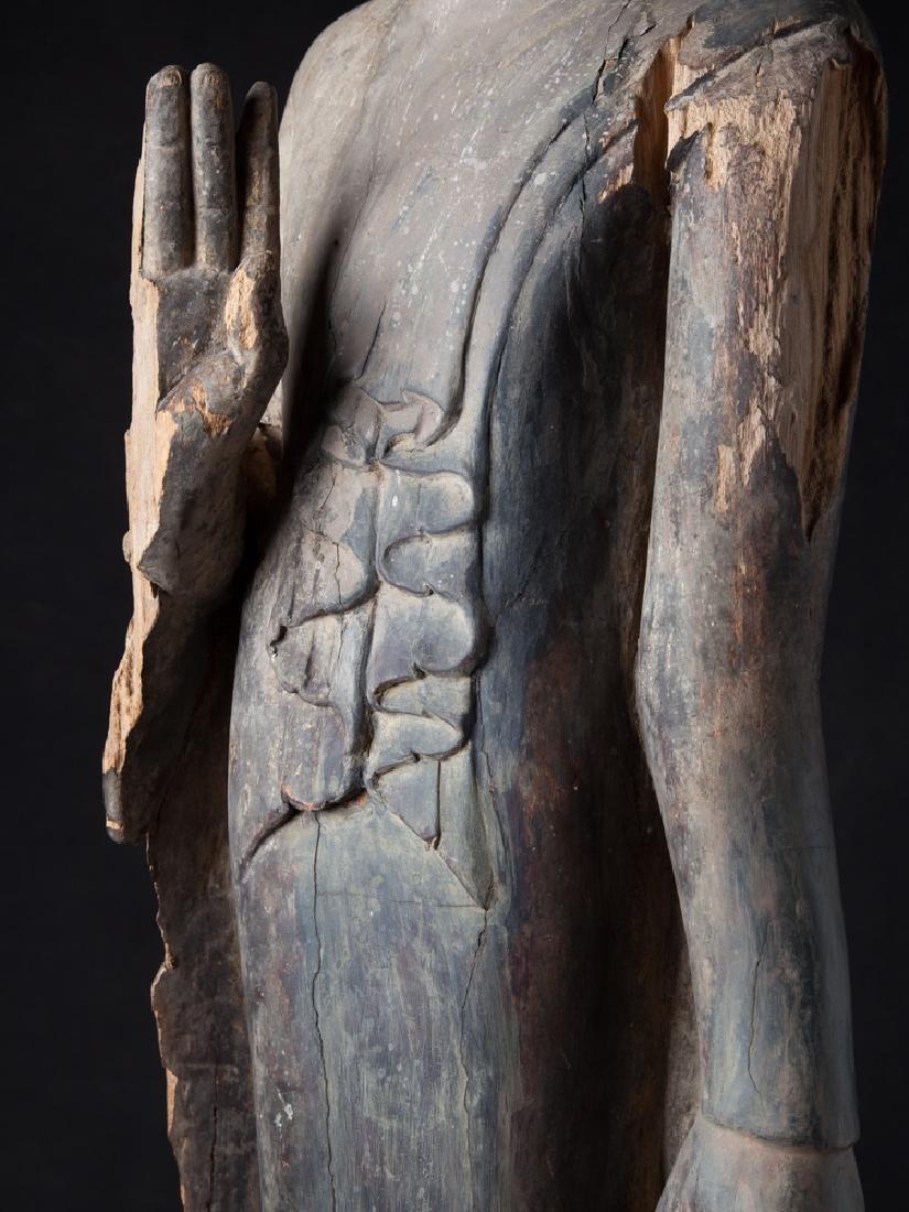 Antique wooden Ava period Buddha statue - 17