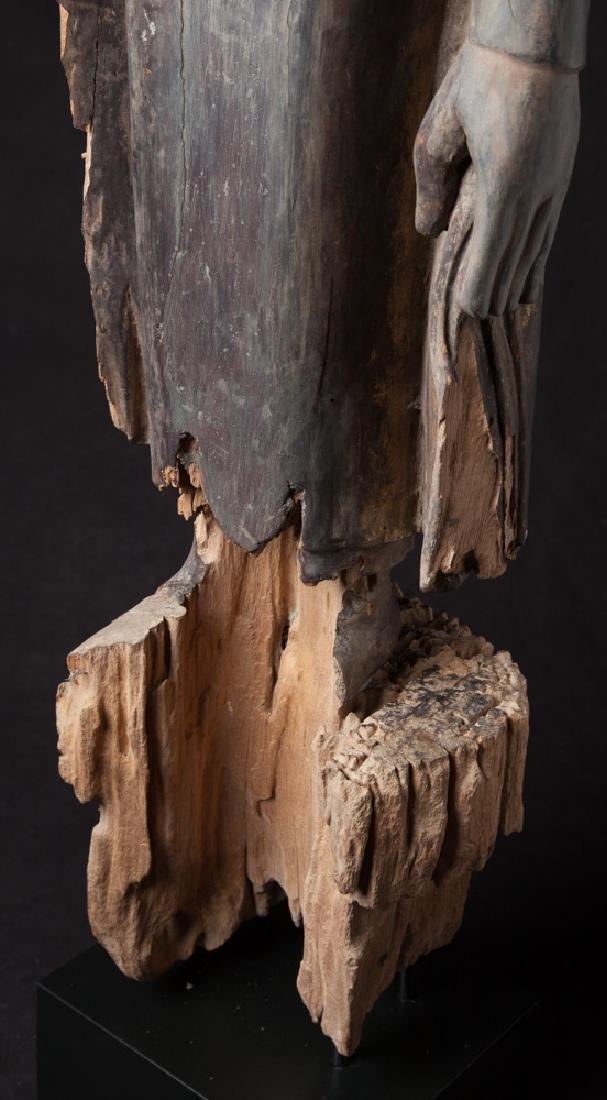 Antique wooden Ava period Buddha statue - 18