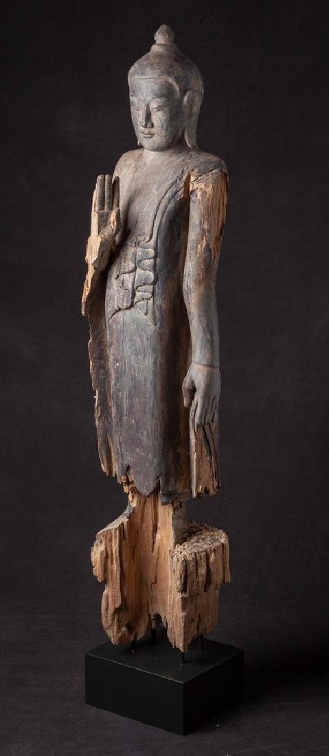 Antique wooden Ava period Buddha statue - 2