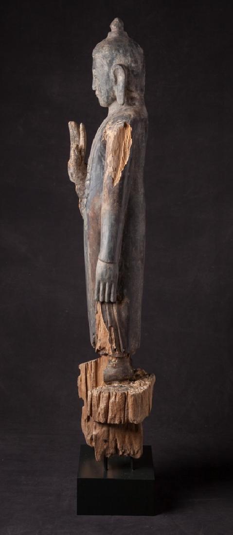 Antique wooden Ava period Buddha statue - 3