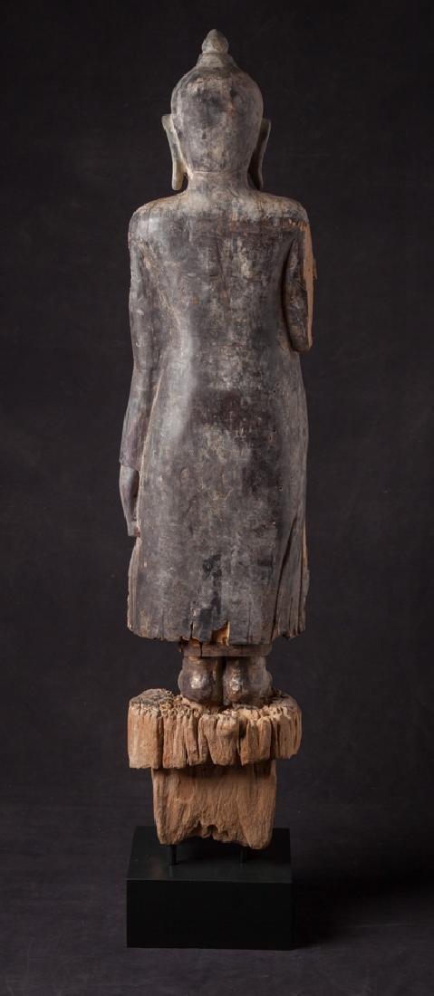 Antique wooden Ava period Buddha statue - 4