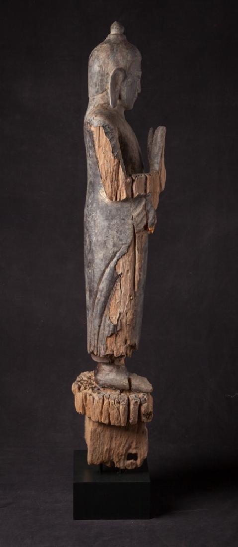 Antique wooden Ava period Buddha statue - 5