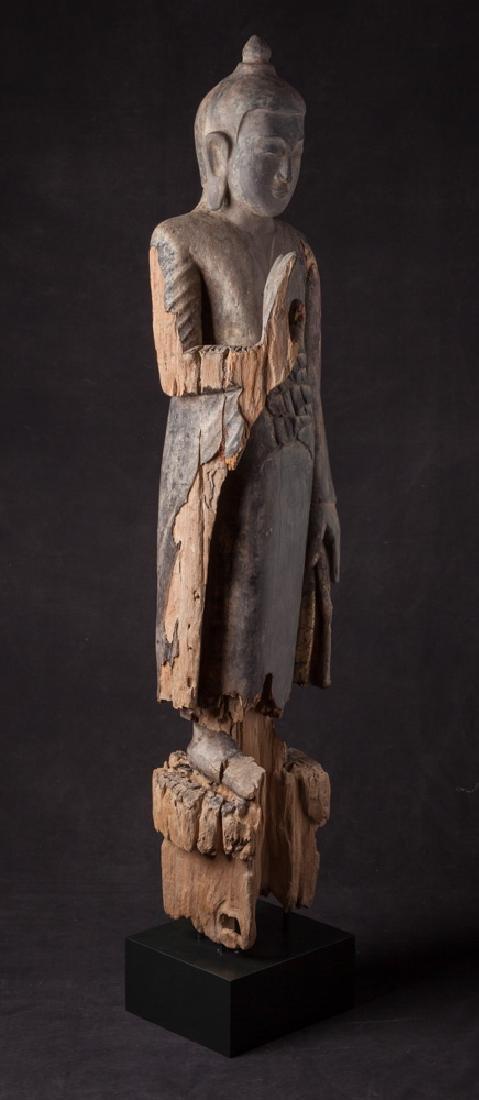 Antique wooden Ava period Buddha statue - 6