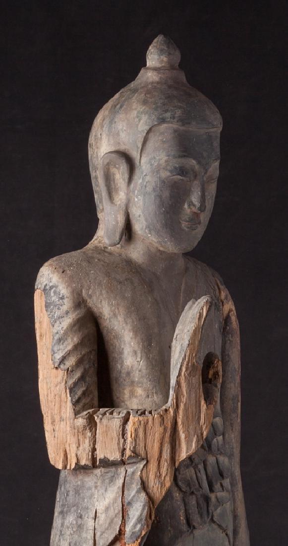 Antique wooden Ava period Buddha statue - 7