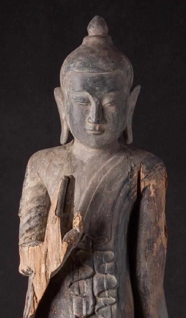 Antique wooden Ava period Buddha statue - 8