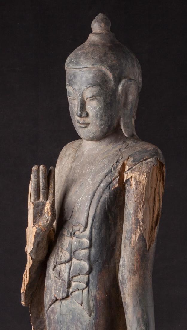 Antique wooden Ava period Buddha statue - 9