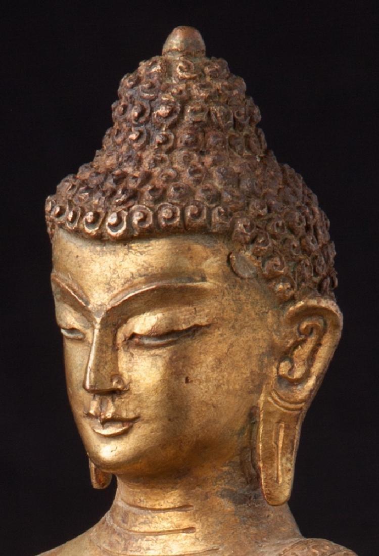 Old bronze Nepali Buddha statue - 12
