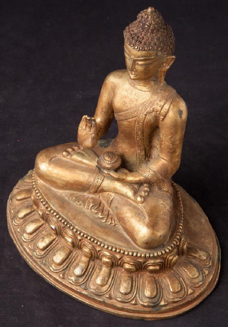 Old bronze Nepali Buddha statue - 13