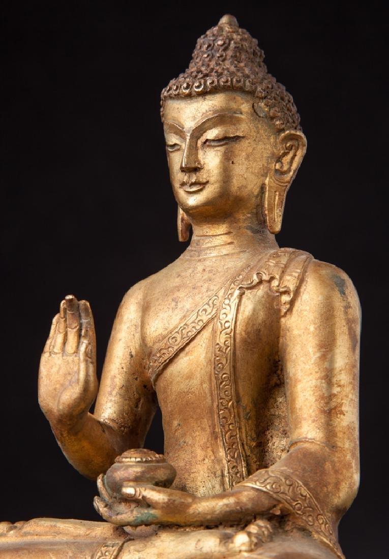 Old bronze Nepali Buddha statue - 14