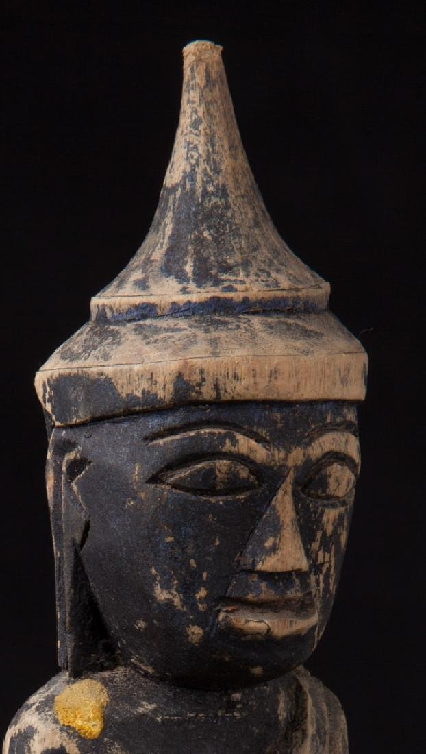 Antique wooden Shan Buddha statue - 10