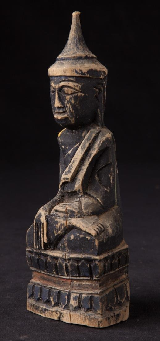 Antique wooden Shan Buddha statue - 2