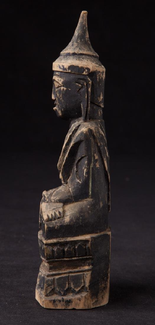 Antique wooden Shan Buddha statue - 3