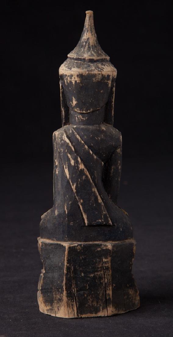 Antique wooden Shan Buddha statue - 4