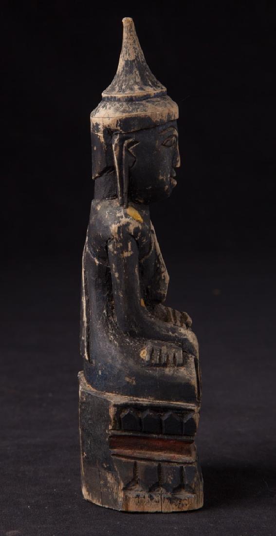Antique wooden Shan Buddha statue - 5