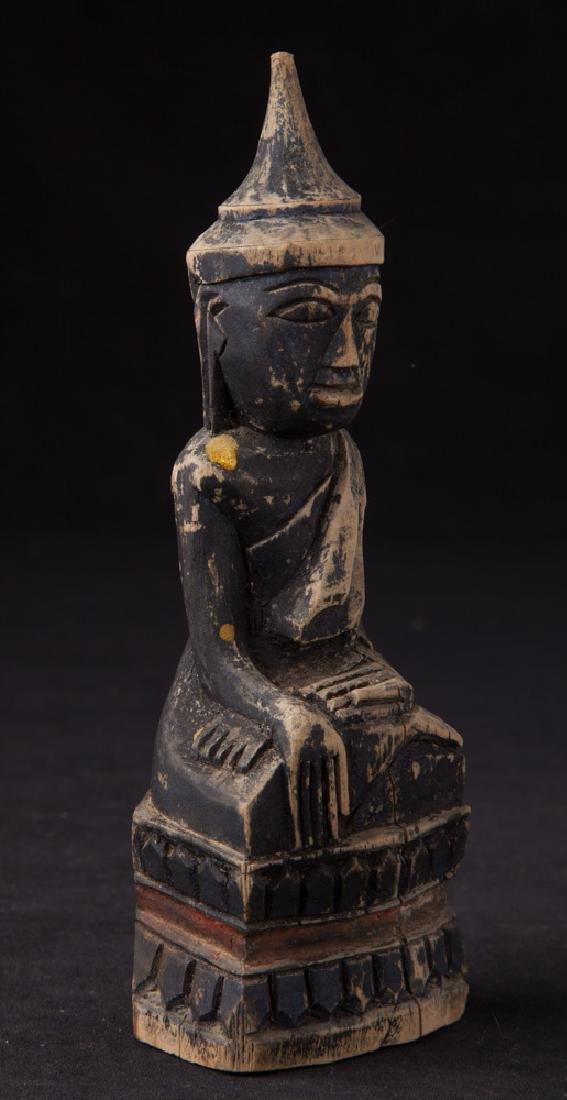 Antique wooden Shan Buddha statue - 6