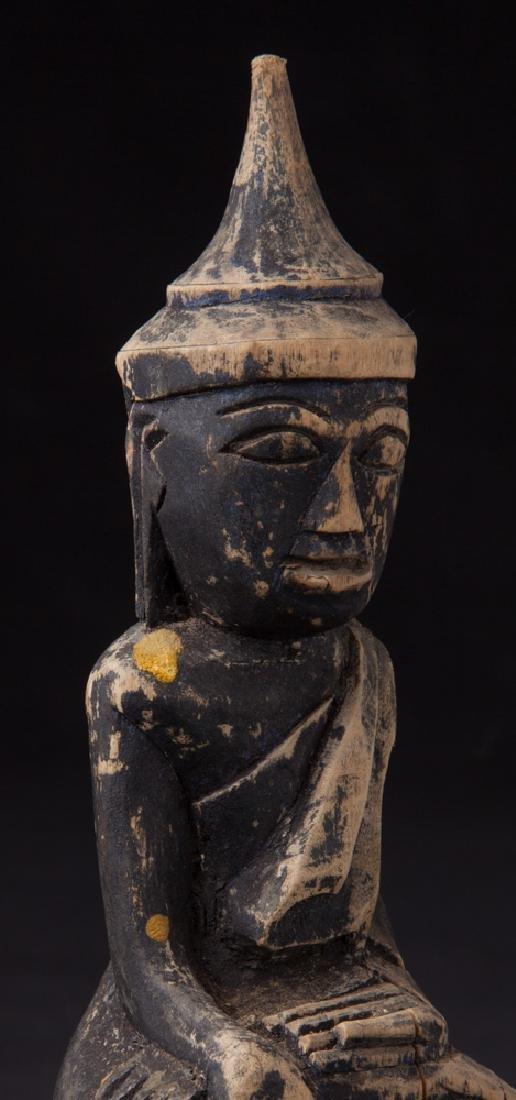 Antique wooden Shan Buddha statue - 7