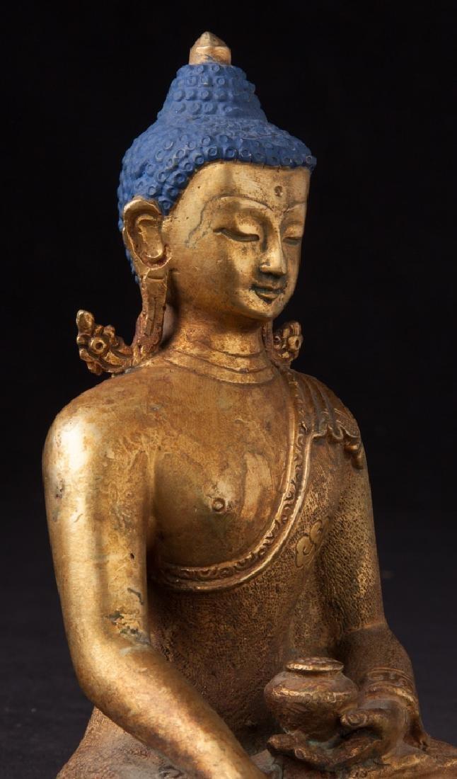 Old bronze Nepali Buddha statue - 7