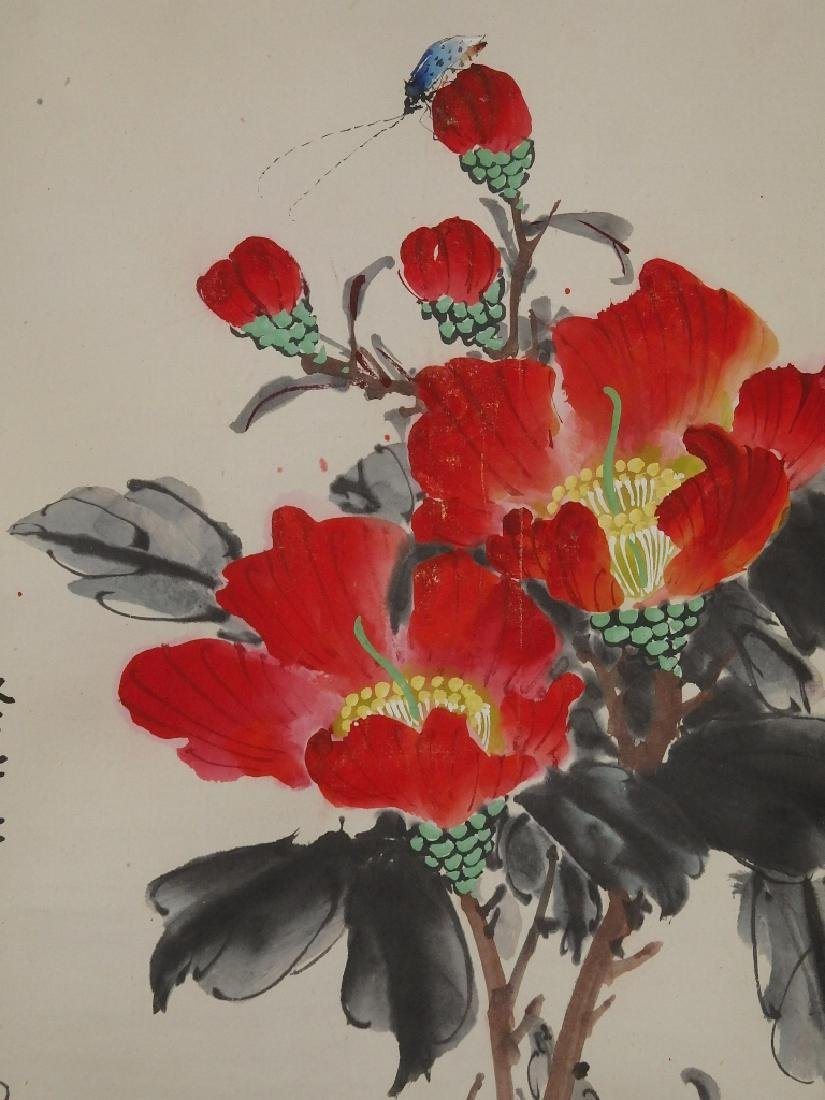 A painting of red flower and ladybug - 5