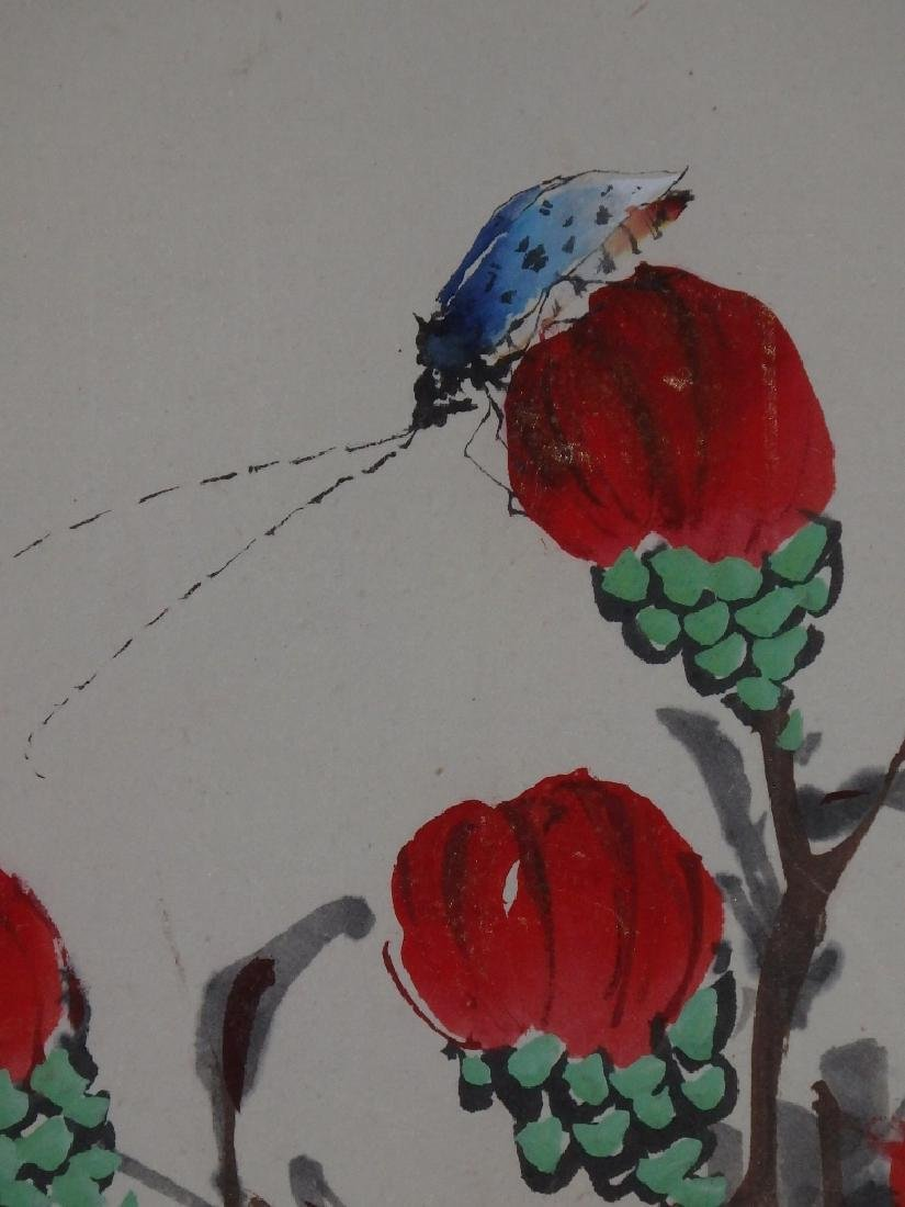 A painting of red flower and ladybug - 7
