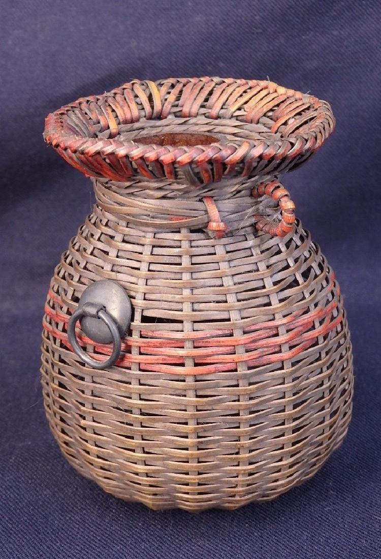 Antique weaved flower basket - 2
