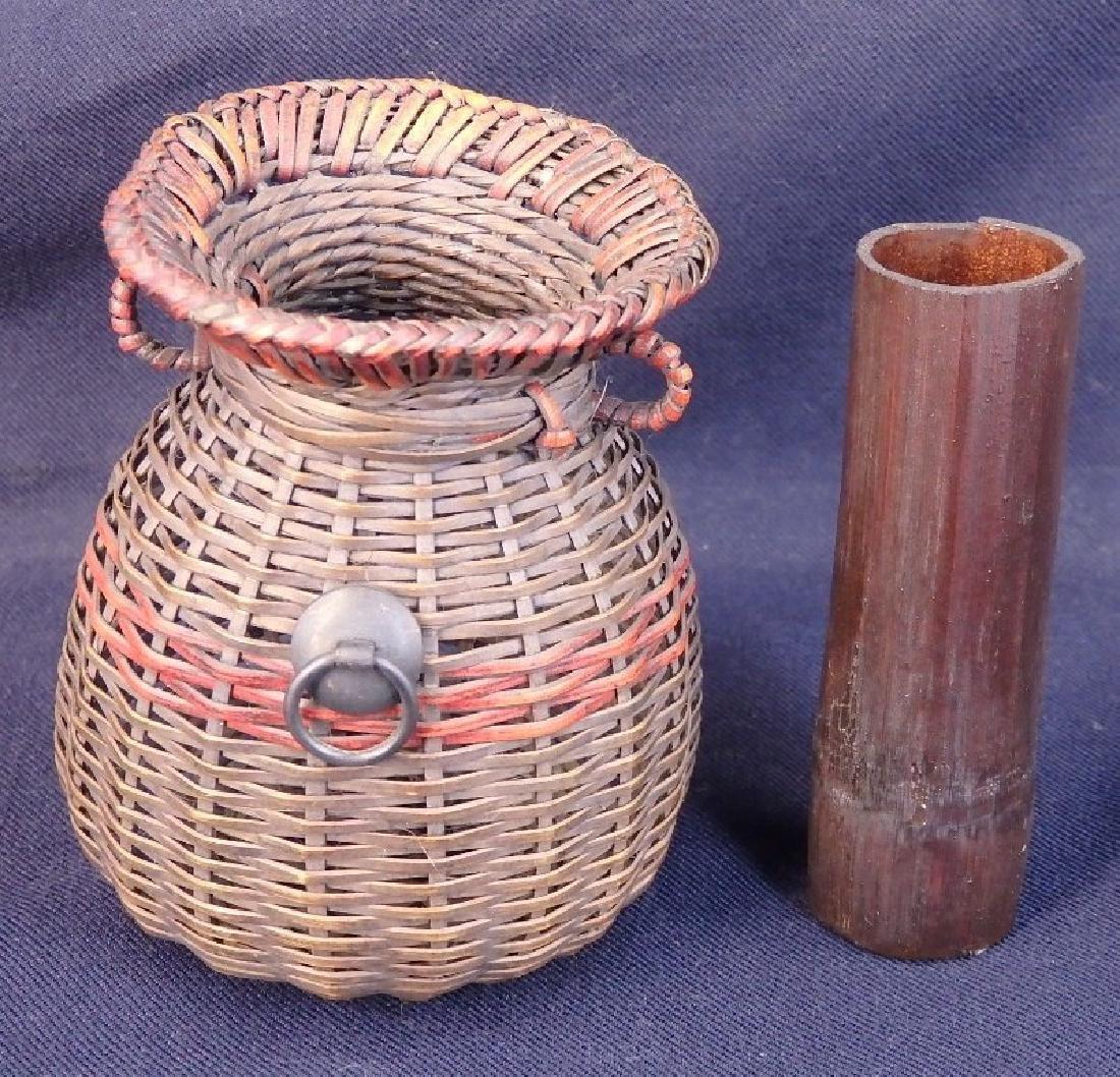 Antique weaved flower basket - 8