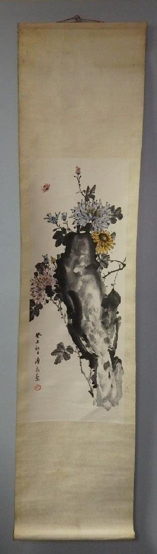 A painting of bee, rock and florals - 2