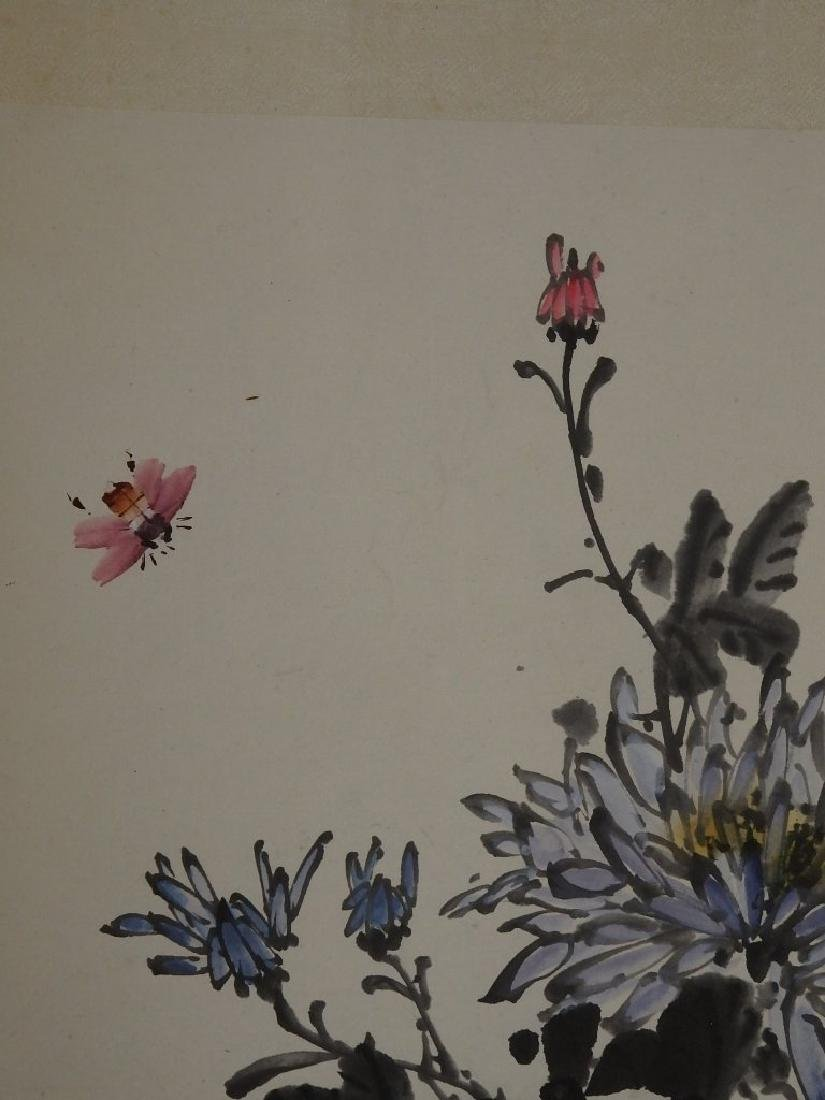 A painting of bee, rock and florals - 4
