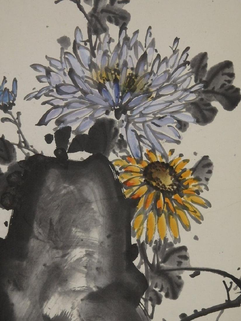 A painting of bee, rock and florals - 5