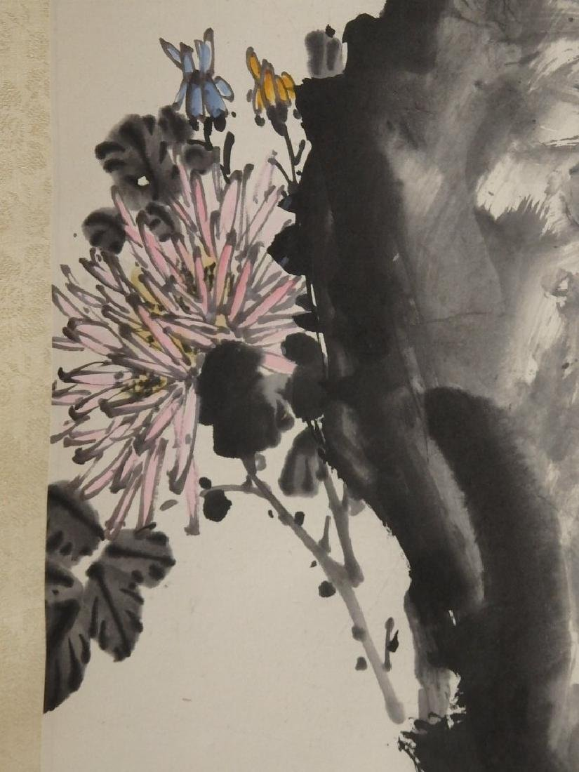 A painting of bee, rock and florals - 6