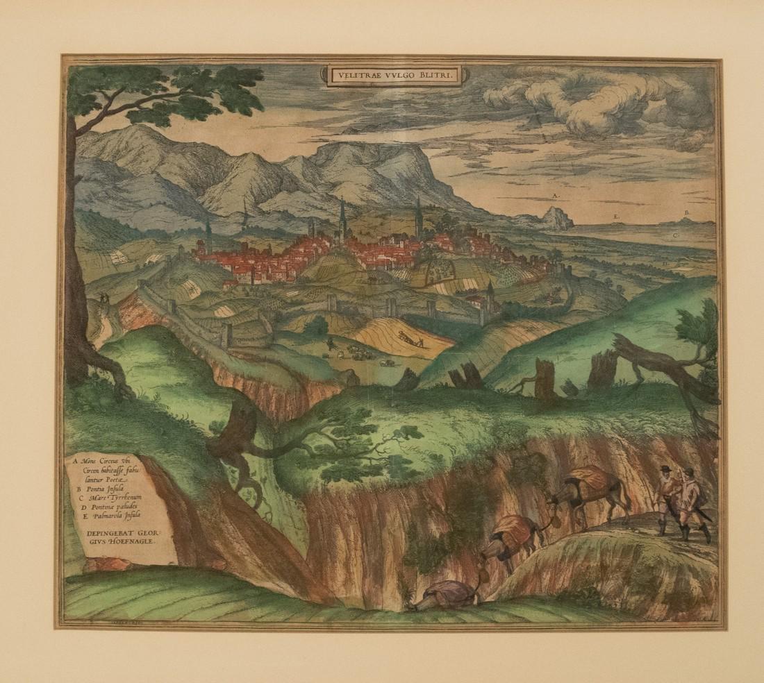 1575 Braun and Hogenberg Birds Eye View of Velletri,