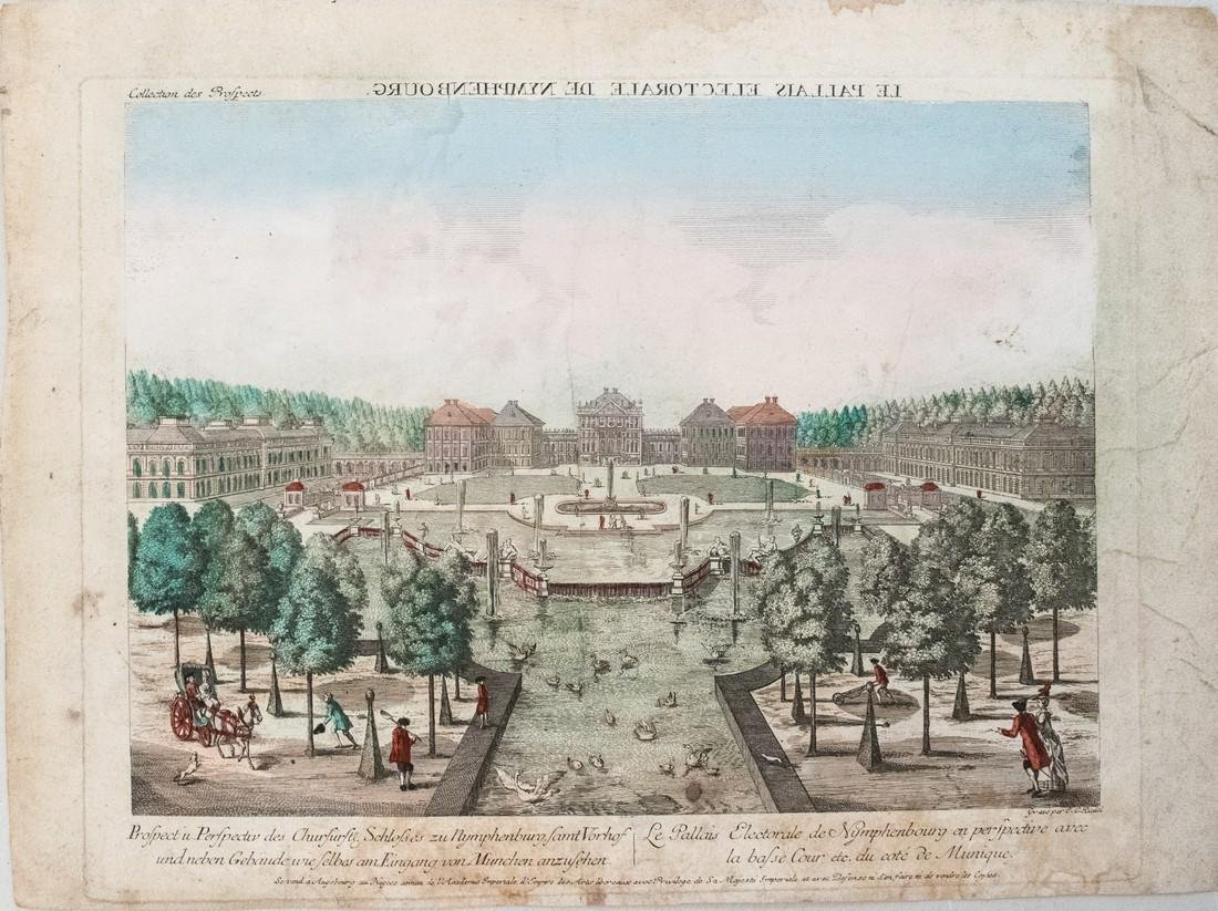 1780 Moreau View of Nymphenburg Palace in Munich -- Le