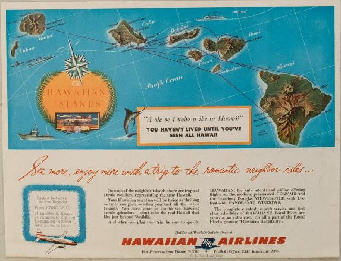 1957 Hawaiian Airlines Convair 340 Route Map --