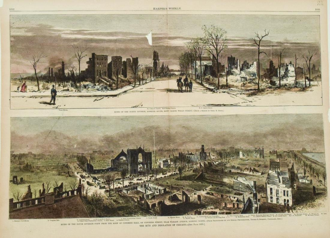 1871 Chicago Fire Harper's Weekly Colored Photos --