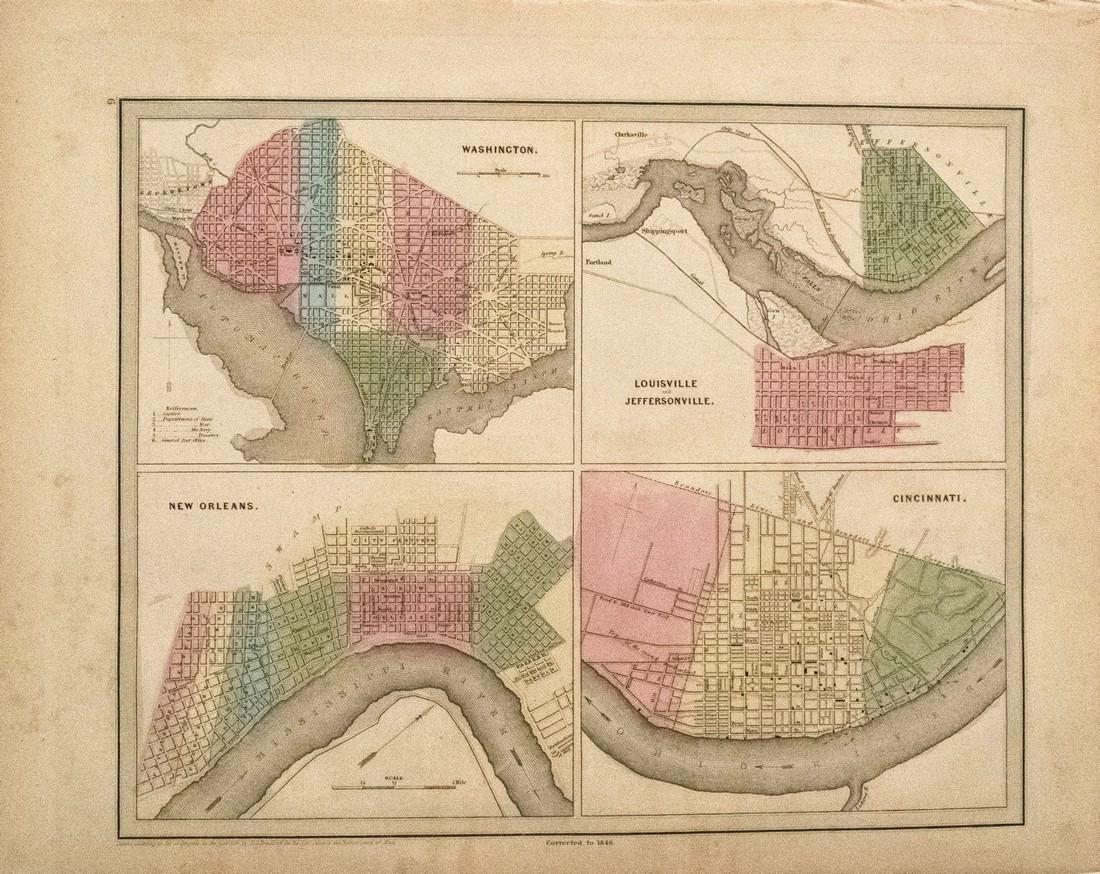 1846 Bradford Maps of Key US Cities -- Washington,