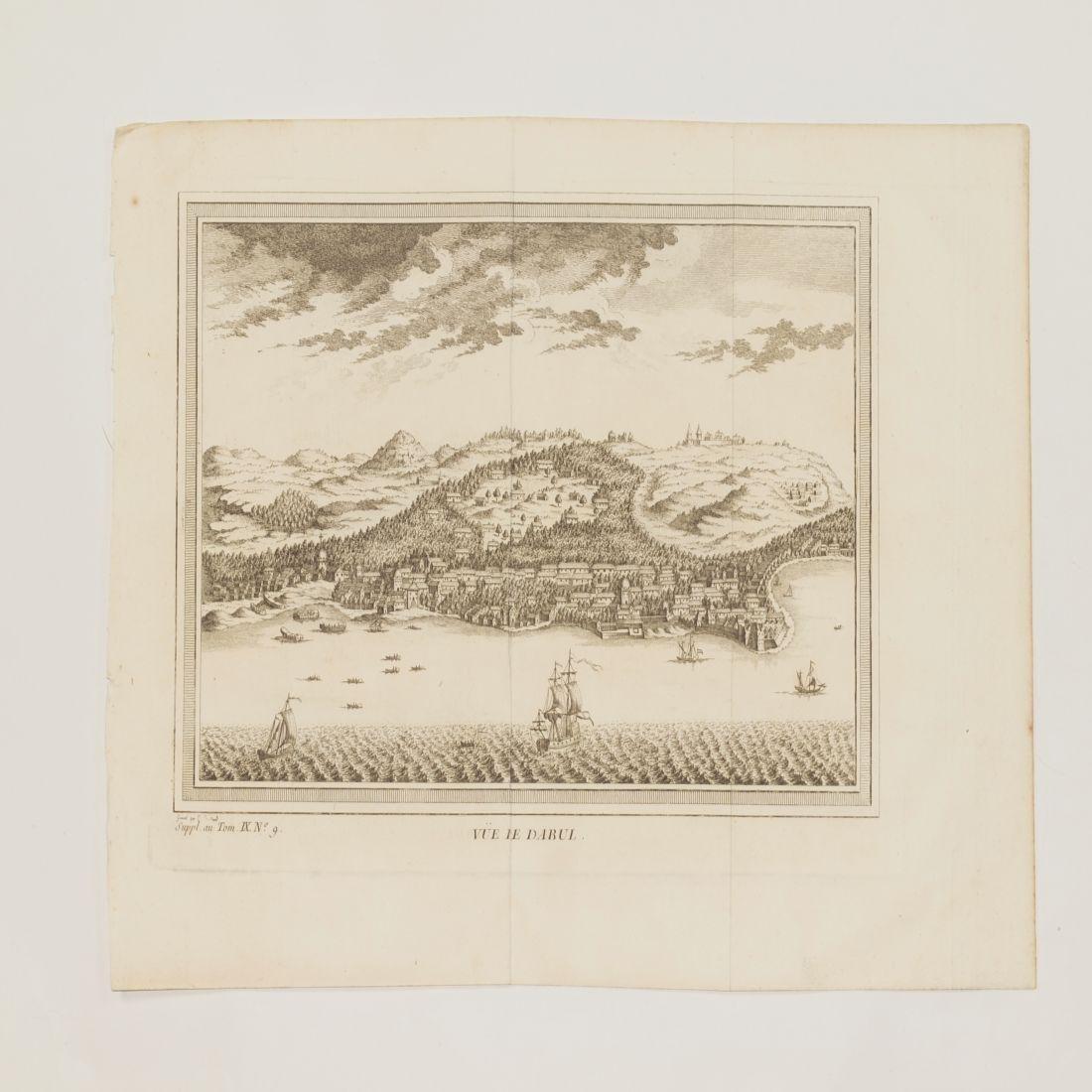 View Dabhol India 1750 circa Copper etching Bellin