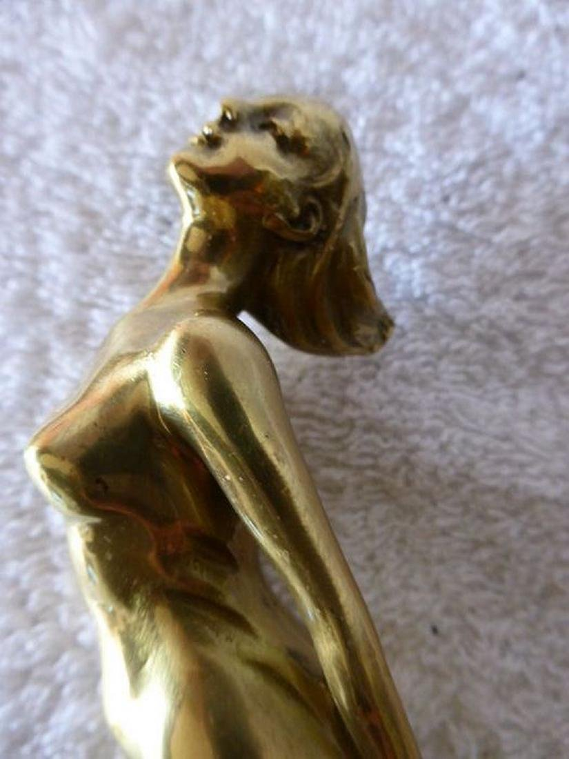 Cane with erotic bronze handle (touching lady) - 4