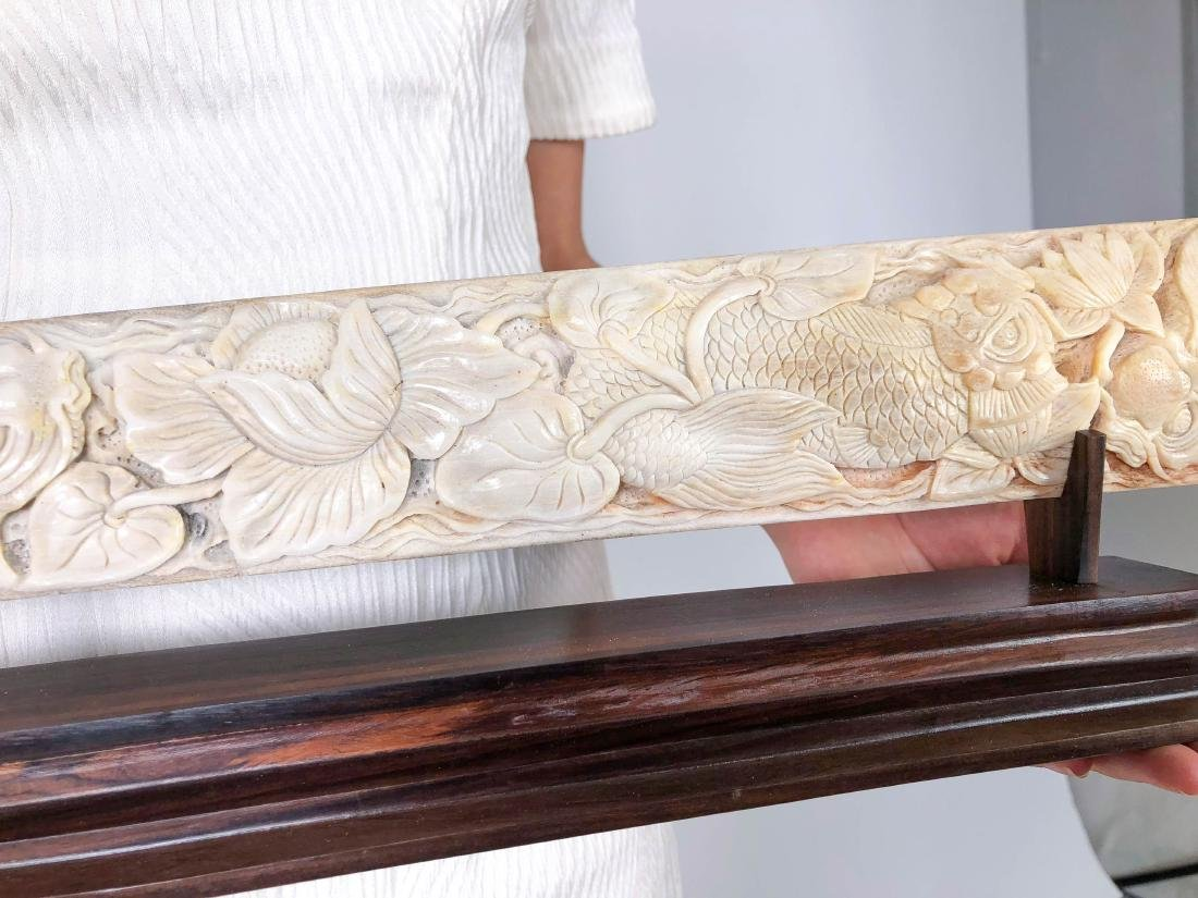Stunning swordfish tusk with hand engraved Japanese koi - 10